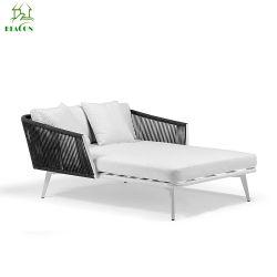 Salon Sun de haute qualité en rotin avec châssis en aluminium Outdoor bain de soleil lit de soleil