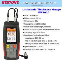 Pantalla LCD color de medidor de espesor ultrasónico Wt100A