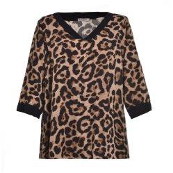 ばねおよび秋様式の女性のための長い袖のヒョウのワイシャツ
