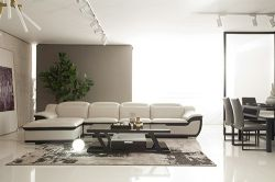 현대적인 디자인의 거실, 목조 스퀘어 커피 테이블, 긴 쪽 티 테이블