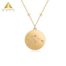 Unisex- Juwelen 925 van de Manier de Echte Zilveren Medaille van de Dierenriem van de Halsbanden van de Tegenhanger van Juwelen 18K 14K 9K Goud Geplateerde