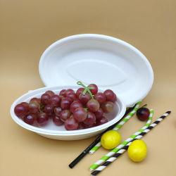Сахарный тростник Овальный стакан одноразовый мире биоразлагаемую бутылку для элегантных салат чашу на лодке для производителей фруктов