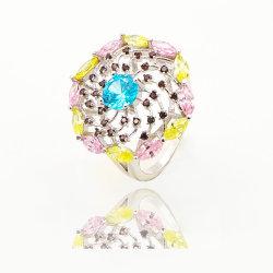 方法宝石類Muticolorは女性のための大きいサイズ925の純銀製のリングに投石する