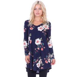 Женщин моды сторона печатной Corset длинной втулки V-образный вырез горловины блуза