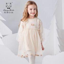 Neue Herbst-Ausstattung, Long-Sleeved Tulle-Prinzessin Dress, Gaze-Stickerei-Entwurf, Geburtstagsfeier-Kleid. Kind-Abnützung. Kind-Kleiden. Kleidung des Babys