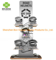 Tienda de Bicicletas personalizadas pantalla casco de madera Piso Rack Moto Ski Soporte casco de escalada