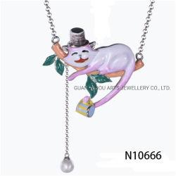 Halsband van de Tegenhanger van de Kat van de Vrije tijd van het email de Zilveren Leuke