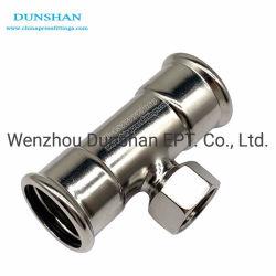 T de aço inoxidável e reduzindo a Rosca fêmea para tubos de encaixe por pressão