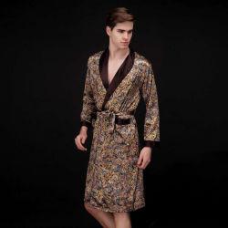 Los hombres verano pijamas de seda de los hombres de longitud media casa pijamas Long-Sleeved desgaste Home
