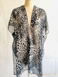 100%Poliéster Ligero Damas Poncho Soft Chiffon Leopard mantón
