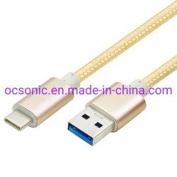 USB 3.1 del cotone dello schermo del di alluminio per digitare il cavo di C per il cavo dei caricatori USB-C del pixel di Chromebook
