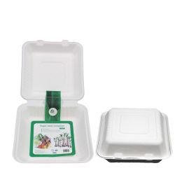 100% 생분해성 일회용 사탕수수 Bagasse 6인치 육수 식기 햄버거 종이 점심 벤토 상자