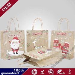 Shopping personnalisé pliable de gros sac de cadeaux de Noël avec logo impressions personnalisées
