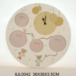 Horloge murale ronde en bois avec cadre photo