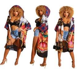 Imprime las mujeres abrigos con capucha con Half-Sleeve X-desgaste de la playa larga y delgada capa de trinchera mujeres vestido