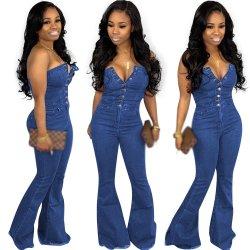 Migliori donne sottili di vendita della tuta del tasto di modo fuori dai pagliaccetti delle tute di stile della donna del pagliaccetto dei jeans del denim della spalla