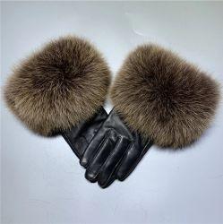 Реальные большой Фокс меховые рукавицы подлинной Sheepskin кожаные перчатки