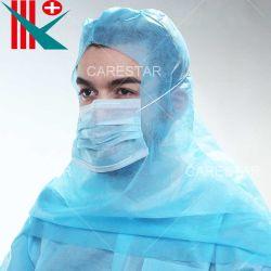 Não Tecidos descartáveis da Tampa do Capô descartáveis de protecção de PP não tecidos Balaclava Tampa com máscara e Cape para a fábrica