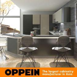 En forme de U Laque armoires de cuisine en bois avec un grand comptoir de bar (OP15-L10)