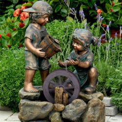 Fonte de bronze com crianças para decoração de jardim