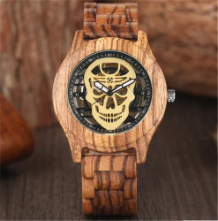Houten Skelet van het Bamboe van het Polshorloge van de Schedel van de Luxe van Mens koelt het Rode Ebbehouten Automatische Mechanische Geschreven Horloges de Mannetjes Relogio van de Mensen van de Sport - V191