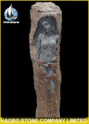 Jardín de piedra de lava mujer desnuda estatua