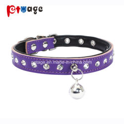 Cat collier en cuir chien d'alimentation Crystal Clear cloches Pet Products