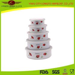 プラスチックふたが付いている高品質5PCSのエナメルのサラダボール