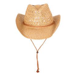 A nova mola de moda de papel de malha de Verão Cowboy Hat com Corda de Palha