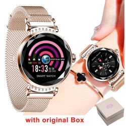 Girl Mulher Tela Cor Bracelete inteligente H2 Monitor de Ritmo Cardíaco IP67 Rastreador de atividade de vigilância inteligente H2