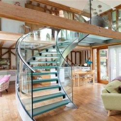 Scale di vetro curve migliore prezzo con scala a spirale di vetro di vetro piegata/dell'inferriata