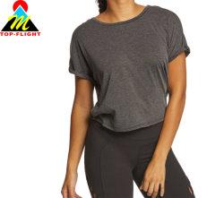 Camicia di T dell'Yoga di modo casuale della signora grigia profonda