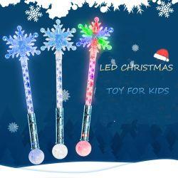 Bastone infiammante a pile della bacchetta del fiocco di neve di natale dell'indicatore luminoso del giocattolo del fiocco di neve LED della bacchetta del fornitore all'ingrosso LED del bastone