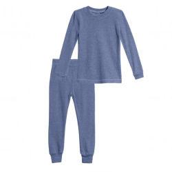 Commerce de gros vêtements d'enfants laine mérinos pyjamas Ensembles thermiques