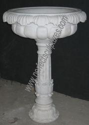 Esterno decorazione pietra scolpita marmo Carving pianta fiore Pot per Decorazione del giardino (QFP065)