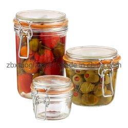 Pots de verre d'alimentation de la cartouche en verre avec couvercles hermétiques les couvercles en verre clair