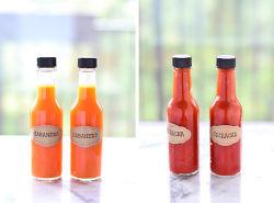 5oz150ml180ml250ml en verre bouteille alimentaire Sauce Chili bouteille en verre avec bouchon de joint, Woozy Bouteille de verre à chaud