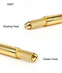 Preciosa doble cabeza dorada de cejas Manaul Tattoo Herramienta Mano