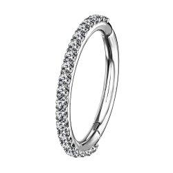 ASTM F136 Anel Segmento articulada de titânio com Pronga Definir CZ Hoop Ring body piercing jóias 16g 1.2*5mm, 6mm, 7mm, 8mm, 9mm, 10mm, 11mm, 12mm