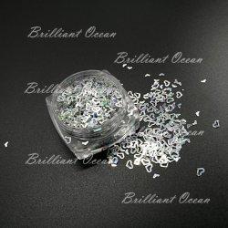 Серебристый голографических скрытых полостей сердца и снежинки формы Spangle пайетками лак для ногтей - Блестящие цветные лаки