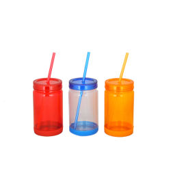 Jarra de hielo de 650 ml taza de plástico con la paja