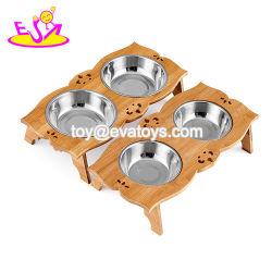 Venda por grosso de madeira barata dispensador de comida para cão com Duas tigelas de Aço Inoxidável W06f054