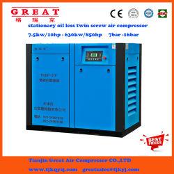 Pour de gros 7,5 Kw kw moins d'huile de l'industrie -250rotatifs à vis à vis type compresseur d'air dans l'industrie utiliser