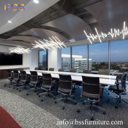 Современный стиль Коммерческий зал стол и стулья роскошь Smart Белый глянцевый отель Управление Corian Quartz мраморный камень в зале заседаний совета директоров стол и стулья