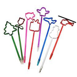 Bolígrafo de plástico en forma personalizada Novedad Bolígrafo transparente lindo avión/Flower/árbol de los niños en forma de lápiz