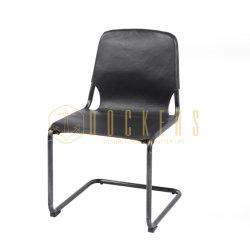 Se puede diseñar muebles de hogar fábrica china Wholesale bastidor metálico Armless de cuero negro Silla de Comedor