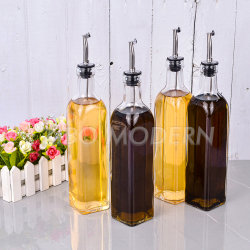 Conjunto do Reservatório de óleo e vinagre Square Tall garrafa de vidro Bico Poure em aço inoxidável