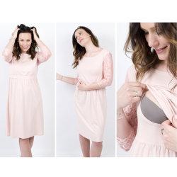3dans1 Les femmes de la Dentelle Soutien-gorge du manchon Pad robe de maternité Ruched lâche l'allaitement maternel
