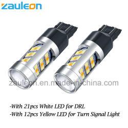 Суперяркий 7440 7443 7444 T20 светодиодные лампы сигнала поворота/DRL Двухцветный Авто лампы