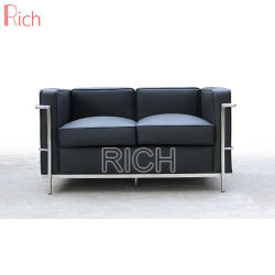 Hotel Chaise Lougue muebles de cuero negro Le Corbusier Sofá LC2